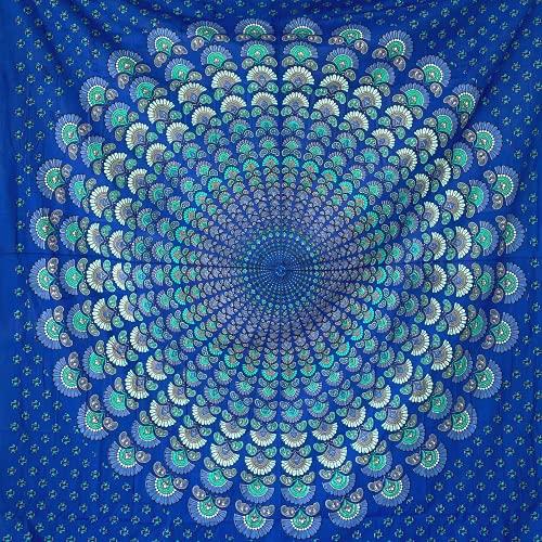 MOMOMUS Arazzo da Parete Mandala - Telo Mare Matrimoniale, Indiano - Grande Pareo 100% Cotone - Telo Arredo Copridivano/Copritutto - 210 x 230 cm