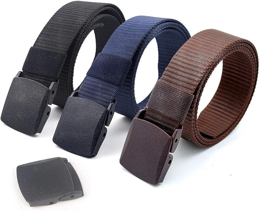 Coobbar 3-Pack Nylon Canvas Belt Plastic Buckle Belt Travel Adjustable Nylon Web Slide Belt