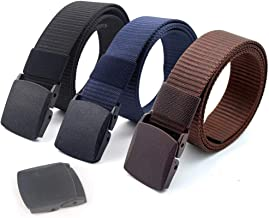 Coobbar 3-Pack Nylon Canvas Belt Plastic Buckle Belt Travel Adjustable Nylon Web Slide Belt