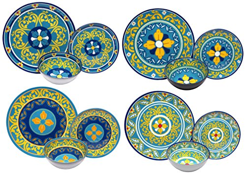 Melange 12-Piece 100% Melamine Dinnerware Set (Gardens of Italy Collection ) | Shatter-Proof and Chip-Resistant Melamine Plates and Bowls | Dinner Plate, Salad Plate & Soup Bowl (4 Each)