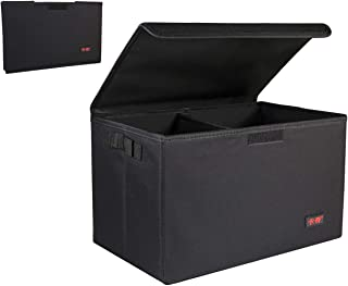 Amissvie Car Trunk Organizer Auto Durable Collapsible Cargo Storage | Foldable Cover | Non-Slip Bottom | Waterproof Material (Black)