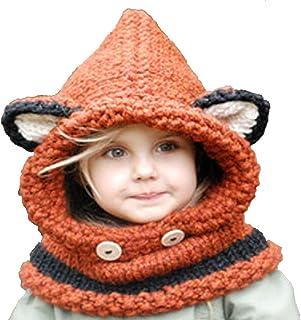 YULOONG Kids Knitted Hat Autumn Winter Cute Children?s Fox Cat Wool Hat Hand-Woven Warm Earmuffs Cape Caps Unisex (Orang...