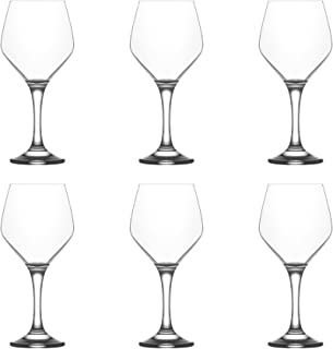 LAV Ella Large Wine Glasses, 450ml - Set of 6 Stemware Goblets