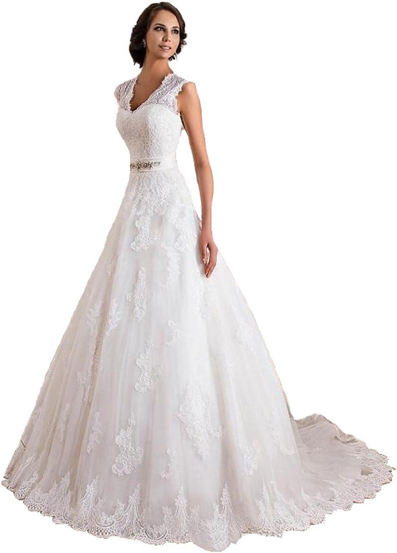 PROMNOVAS Women's Aline Lace Appliques Wedding Dress V Neck Bridal Gown