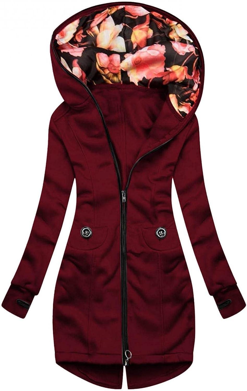 ManxiVoo Women Plus Size Floral Print Jacket Zipper Up Pocket Sweatshirt Coat Fall Outerwear Coat