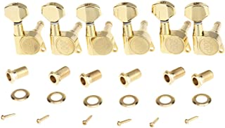 Wilkinson 6-in-line E-Z-LOK Guitar Tuners Machine Heads Tuning Keys Set for Fender Strat/Tele Style Electric Guitar, Gold