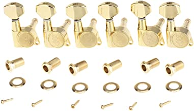 Wilkinson 6 Inline E-Z-LOK Guitar Tuners Machine Heads Tuning Pegs Set for Fender Strat/Tele Style Electric Guitar, Gold