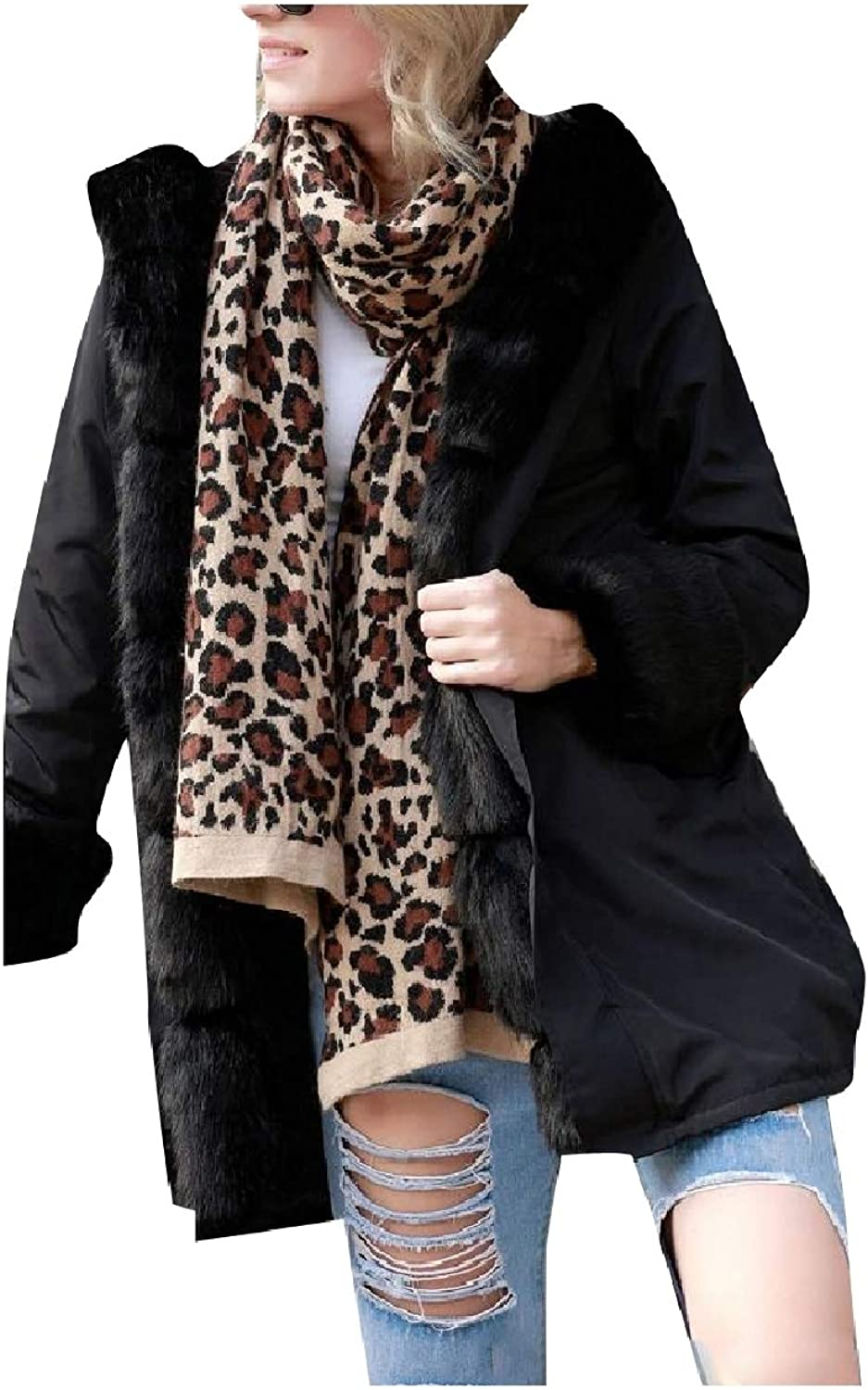 Baseby Women's Warm Camouflage color Faux Fur Hood Coats Parkas Jackets