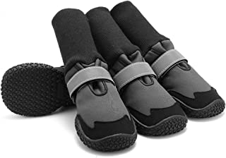 JFS Dog Shoes, Set of 4 Boots for Dogs Paws-Waterproof Dog Shoes -Soft Warm Pet Anti-Slip Shoe Boots Snow Shoes