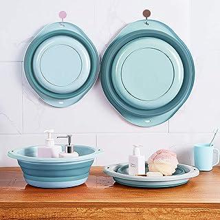 MM&UU 折り畳み 洗い桶 洗面器 たらい 2点セット 洗濯 掃除 キッチン用 お風呂用 足湯 ペット用 丸型 樹脂 壁掛ける ブルー