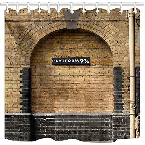 NYMB - Cortina de ducha vintage de pared con plataforma 9 y 3/4 en London's King's Cross Station de Londres, decoración de baño para...