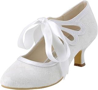 52043510afe9 ElegantPark HC1521 Women s Mary Jane Closed Toe Low Heel Pumps Lace Wedding  Dress Shoes