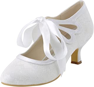 HC1521 Women's Mary Jane Closed Toe Low Heel Pumps Lace Wedding Dress Shoes