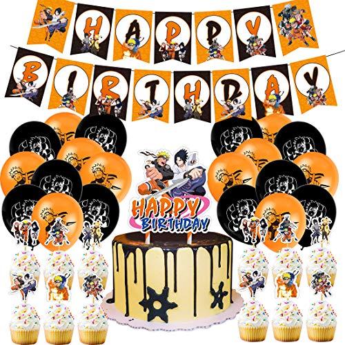 Geburtstag Dekoration für Kinder - YUESEN Naruto Birthday Party Dekorations Ballon Geburtstags Deko,Banner Zubehör,Cake Topper Birthday Dekoration Zubehör Set für Baby Party (50pcs)