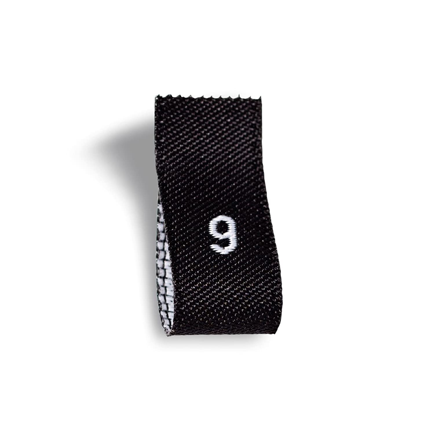 Wunderlabel Adult Size Label Woven Crafting Craft Art Fashion Ribbon Ribbons Tag for Clothing Sewing Sew on Clothes Garment Fabric Material Embroidered Label Labels Tags, White on Black, S9, 50 Labels