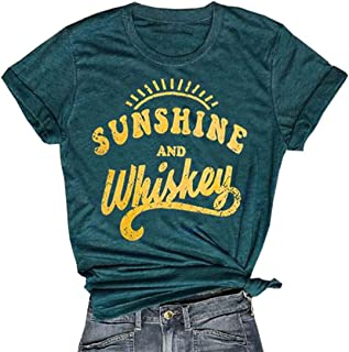 Sunshine and Whiskey Short Sleeve T-Shirt Women Beach Funny Letters Print Summer Tops Tees