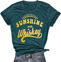 MNLYBABY Sunshine and Whiskey Short Sleeve T-Shirt Women Beach Funny Letters Print Summer Tops Tees