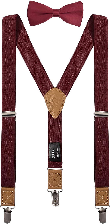 CEAJOO Suspenders for Boys Elastic with Bow Tie