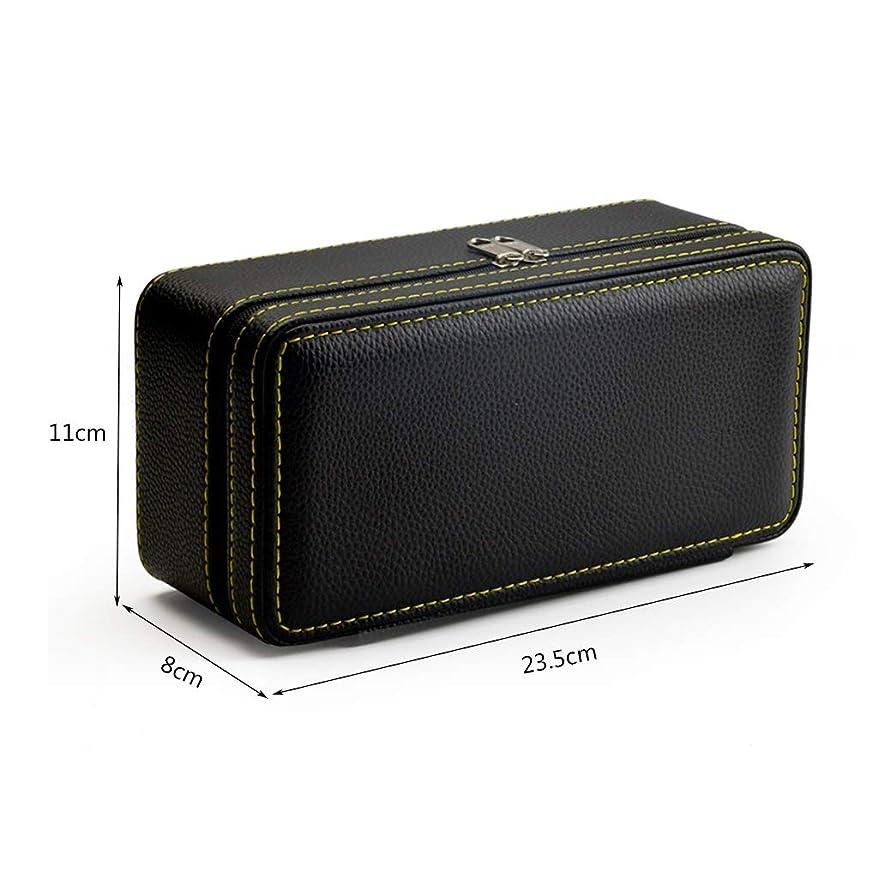 刃地殻元のトラベルジュエリーボックスPUレザー2つのレイヤージュエリー収納袋多機能ジッパーバッグ W1XX (Color : Black)