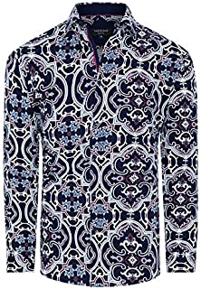 Tarocash Men's Miami Slim Stretch Geo Shirt Slim Fit Long Sleeve Sizes XS-5XL for Going Out Smart Occasionwear