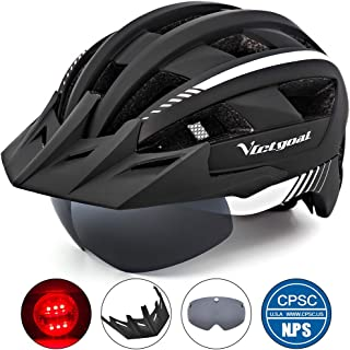 VICTGOAL Bike Helmet for Men Women with Led Light Detachable Magnetic Goggles Removable Sun Visor Mountain & Road Bicycle Helmets Adjustable Size Adult Cycling Helmets