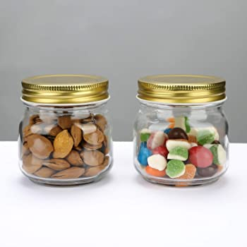 Encheng 10 oz Glass Jars With Lids,Ball Wide Mouth Mason Jars For Storage,Canning Jars For Caviar,Herb,Jelly,Jams,Hon...