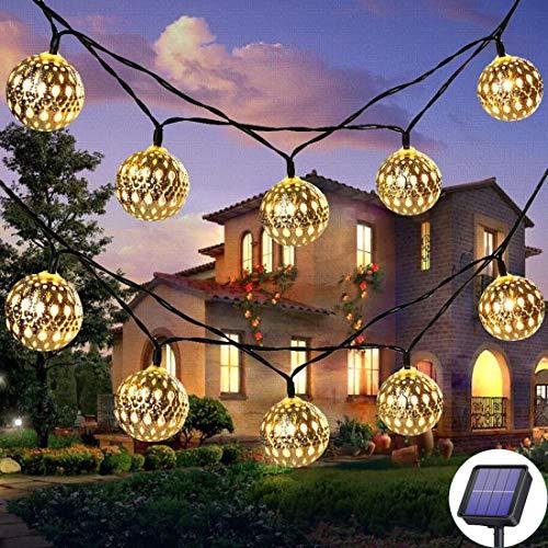 WILLOR - Guirnalda de luces LED con forma de globo solar, 30 luces LED de metal marroquí, para Navidad, Halloween, jardín, hogar, fiesta, boda, blanco cálido