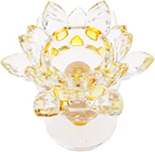 MagiDeal Crystal Lotus Flower Candle Holder Tealight Holder Candlestick Crafts Home Feng Shui Decor - Yellow
