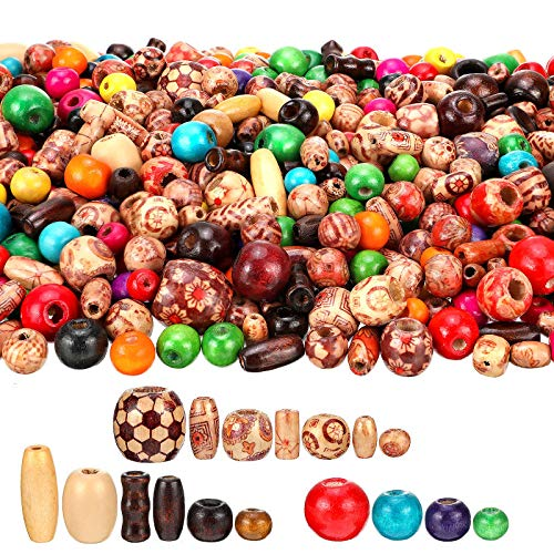 800 Pieces Wooden Beads Set, Include 400 Pieces Printed Wooden Beads Loose Wood Beads, 200 Pieces Assorted Natural Wooden Bead and 200 Pieces Rainbow Color Wooden Beads for Jewelry Making DIY