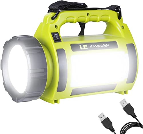 LE 1000lm Rechargeable Camping Lantern 3600mAh Power Bank Super Bright Flashlight 3 Modes Lamp Dimmable LED Spotlight 10W Outdoor Searchlight Area Light IPX4 Waterproof Torch product image