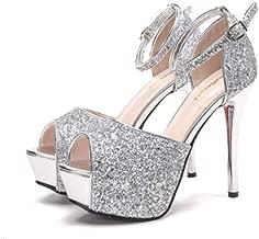 Ladies fashion metal sequins banquet shoes high heel fish mouth hollow waterproof platform buckle sandals high heels