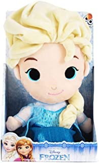 Disney Plush Cute Face Frozen Elsa, 10 inch, Blue/Yellow