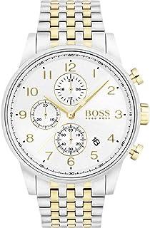 ساعة بمينا بيضاء وسوار معدني للرجال من هوجو بوس - 1513499