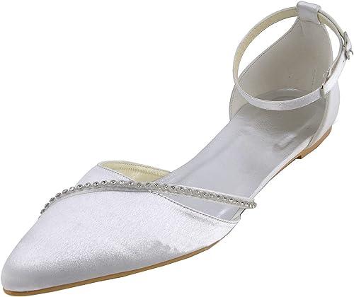 ZHRUI GYMZ693 Femmes Chaussures Chaussures Chaussures De Mariée en Satin Soirée Confortable Soirée De Bal Chaussures Pompes Sandales Flatfs (Couleuré   Ivory-1.5cm Heel, Taille   8.5 UK) 29e