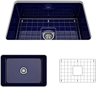BOCCHI 1360-010-0120 Sotto Undermount Fireclay 27 in. Single Bowl Kitchen Sink with Protective Bottom Grid and Strainer in Sapphire Blue