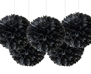 """16"""" Black Tissue Pom Poms, Paper Flower Ceiling Hanging Party Decorations, Pack of 5"""