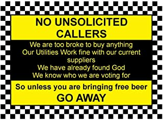 Che3423erth Metal Tin Signs No Unsolicited Callers Funny Front Door Aluminium Metal Sign Sign Plaque House Gift 12