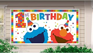 SESAME STREET Elmo Turns One JUMBO PLASTIC BANNER ~ Birthday Party Supplies