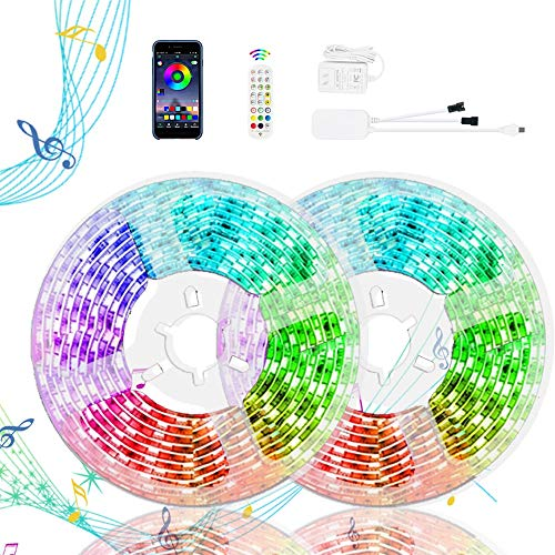 """【""""Lauflicht Effekt""""】RGBIC 15m LED Strip mit App Steuerung- WS2812B LED Streifen, Leiste, Band, Lichterkette, Lichtleiste mit Musik Farbenwechsel, Memory-Funktion, inkl. Fernbedienung, Selbstklebend"""