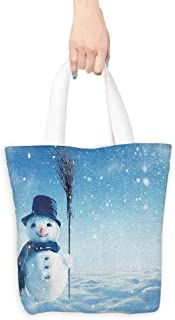 Cosmetic bag,Snowman Snow Covered Wintry Landscape with Cute Happy Snowman Cold Outdoors,Canvas Grocery Shopping Bags with Handles,16.5