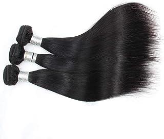 Vergeania ブラジルの人間の髪織り1バンドル100%人毛エクステンションナチュラルブラックカラー横糸10-28インチロングストレートヘアウィッグウィッグ (色 : 黒, サイズ : 24 inch)
