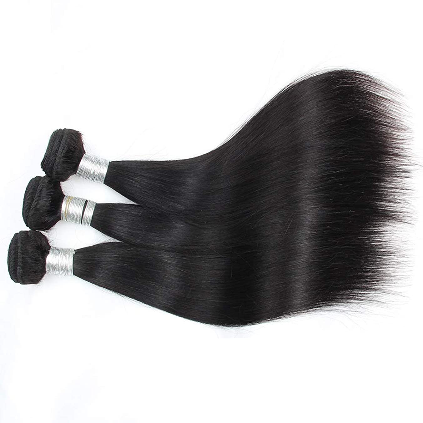 ピンチ反発会計士BOBIDYEE ブラジルの人間の髪織り1バンドル100%人毛エクステンションナチュラルブラックカラー横糸10-28インチロングストレートヘアウィッグウィッグ (色 : 黒, サイズ : 14 inch)
