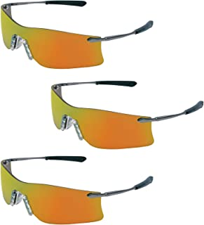 (3 Pair) MCR Safety Glasses Fire Mirror Lens Rubicon T411R