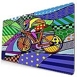 Extra Groß Spiele Mauspad mit Genähten Kanten,Fahrrad,Rutschfest Gummibasis Computer Tastatur Matte,29.5' x 15.8'