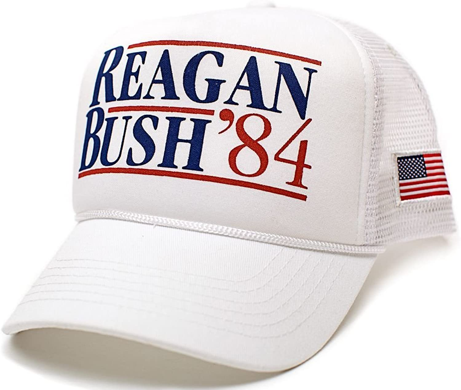Reagan Bush 84 Hat Back To Back World War Champs USA Flag Unisex Adult White Solid