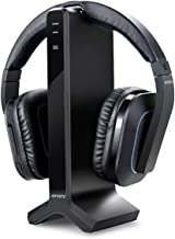Wireless Stereo TV Headphones, Artiste D1 2.4GHz Optical Fiber TV Headset for TV Listening W/Digital Output,20 Hour Battery and Headphones Charging Dock,Support Samsung Smart SUHD -Black