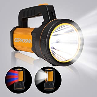 High Lumen Powerful Rechargeable Spotlight Flashlight CREE LED Super Bright Searchlight Hand held Spot Search light Large ...