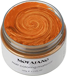Mofajang Hair Color Wax, KooJoee Orange Temporary Hair Dye Easy Wash Hairstyle Cream 4.23 oz Disposable Hair Pomades, Natural Matte Hair Modeling Wax for Party Cosplay Nightclub Masquerades Halloween