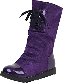 FAPIZI Women's Boot Autumn Winter Round Toe Flat Ankle Boot Lace-Up Artificial Leather Patchwork Shoes Warm Short Boot