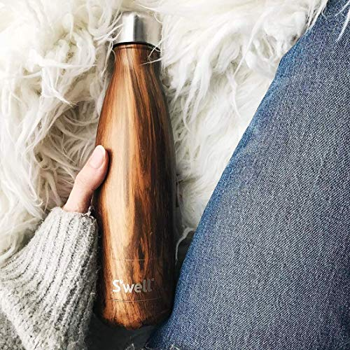 S'well Stainless Steel Water Bottle-25 Teakwood-Triple-Layered Vacuum-Insulated Containers Keeps Drinks Cold for 48 Hours and Hot for 24-BPA-Free-Perfect for the Go, 25 fl oz